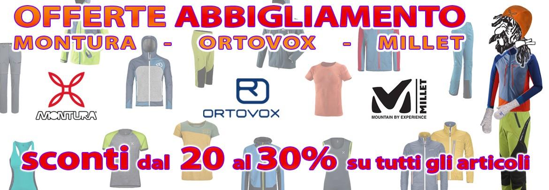 sconti dal 20 al 30% su tutti gli articoli Montura Ortovox Millet